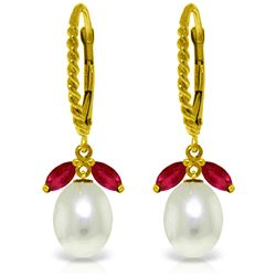 Genuine 9 ctw Ruby & Pearl Earrings Jewelry 14KT Yellow Gold - GG#3140 - REF#41P4H