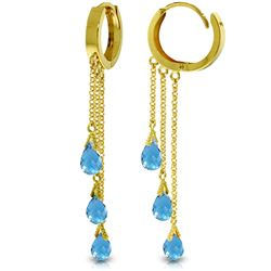 Genuine 4.8 ctw Blue Topaz Earrings Jewelry 14KT Yellow Gold - GG#3498 - REF#64A4K