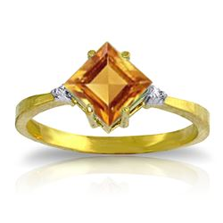 Genuine 1.77 ctw Citrine & Diamond Ring Jewelry 14KT Yellow Gold - GG#2020 - REF#28F8Z
