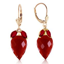 Genuine 27.1 ctw Ruby Earrings Jewelry 14KT Yellow Gold - GG#4848 - REF#59F9Z