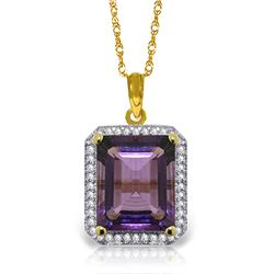 Genuine 5.8 ctw Amethyst & Diamond Necklace Jewelry 14KT Yellow Gold - GG#4945 - REF#71K3V
