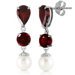 Genuine 10.5 ctw Garnet & Pearl Earrings Jewelry 14KT White Gold - GG#1333 - REF#40W9Y