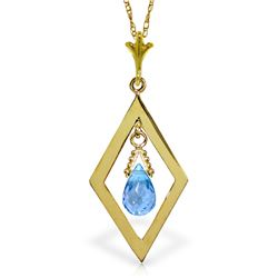 Genuine 0.7 ctw Blue Topaz Necklace Jewelry 14KT Yellow Gold - GG#2253 - REF#17N6R