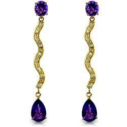 Genuine 4.35 ctw Amethyst & Diamond Earrings Jewelry 14KT Yellow Gold - GG#1336 - REF#62K3V