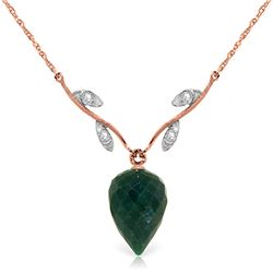 Genuine 12.92 ctw Green Sapphire Corundum & Diamond Necklace Jewelry 14KT Rose Gold - GG#4692 - REF#