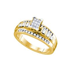 0.5 CTW Diamond Ladies Ring Yellow Rhodium Silver - GD68340-REF#37R4H