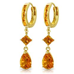 Genuine 5.62 ctw Citrine Earrings Jewelry 14KT Yellow Gold - GG#2021 - REF#62H9X