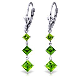 Genuine 4.79 ctw Peridot Earrings Jewelry 14KT White Gold - GG#1435 - REF#36X8M