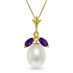 Genuine 4.5 ctw Pearl & Amethyst Necklace Jewelry 14KT Yellow Gold - GG#3121 - REF#24P3H