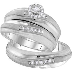 0.2 CTW Diamond Trio Set Ring 10KT White Gold - GD105822-REF#61N2S