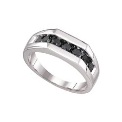 1 CTW Black Diamond Men's Ring 10KT White Gold - GD81407-REF#32G3M