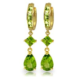 Genuine 5.62 ctw Peridot Earrings Jewelry 14KT Yellow Gold - GG#1602 - REF#62R7P
