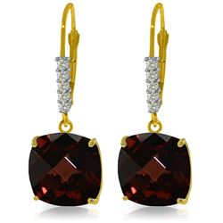 Genuine 9 ctw Garnet & Diamond Earrings Jewelry 14KT Yellow Gold - GG#2963 - REF#59M3T