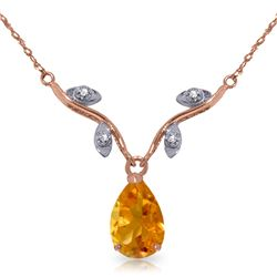 Genuine 1.52 ctw Citrine & Diamond Necklace Jewelry 14KT Rose Gold - GG#2404 - REF#30T7A