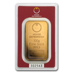One pc. 100 gram .9999 Fine Gold Bar - Austrian Mint In Assay