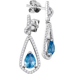 0.95 CTW Blue Topaz & Diamond Earrings 14KT White Gold - GD105001-REF#111N5S