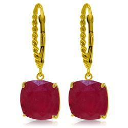 Genuine 13.5 ctw Ruby Earrings Jewelry 14KT Yellow Gold - GG#4177 - REF#121X7M