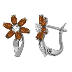 Genuine 1.10 ctw Garnet & Diamond Earrings Jewelry 14KT White Gold - GG#3339 - REF#36A3K