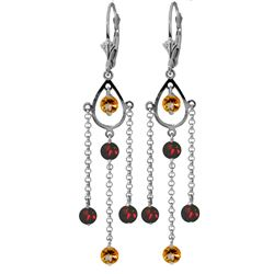 Genuine 3 ctw Citrine & Garnet Earrings Jewelry 14KT White Gold - GG#2135 - REF#48A9K