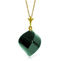 Genuine 15.25 ctw Green Sapphire Corundum Necklace Jewelry 14KT Yellow Gold - GG#4904 - REF#26T7A
