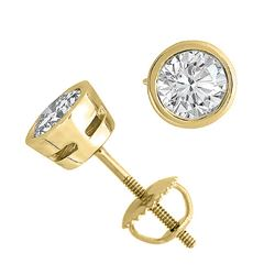 14K Yellow Gold Jewelry 2.0 ctw Natural Diamond Stud Earrings - WJA1291 - REF#499K1R
