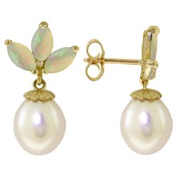 Genuine 9.5 ctw Opal & Pearl Earrings Jewelry 14KT White Gold - GG#2736 - REF#34Y3F