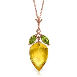 Genuine 10 ctw Citrine & Peridot Necklace Jewelry 14KT Rose Gold - GG#4856 - REF#28W9Y