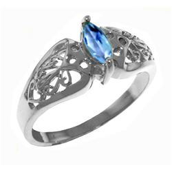 Genuine 0.2 ctw Blue Topaz Ring Jewelry 14KT White Gold - GG#4611 - REF#47M2T