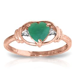 Genuine 1.01 ctw Emerald & Diamond Ring Jewelry 14KT Rose Gold - GG#4395 - REF#49X2M