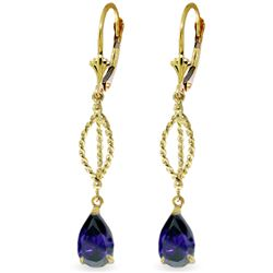 Genuine 3 ctw Sapphire Earrings Jewelry 14KT Yellow Gold - GG#2047 - REF#53T6A