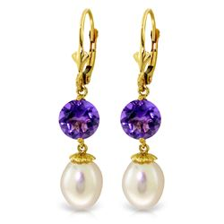 Genuine 11.1 ctw Pearl & Amethyst Earrings Jewelry 14KT Yellow Gold - GG#2479 - REF#26V6W