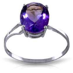 Genuine 2.2 ctw Amethyst Ring Jewelry 14KT White Gold - GG#1638 - REF#27Z8N