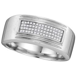 0.15 CTW Diamond Men's Ring 10KT White Gold - GD109833-REF#67N5S