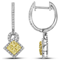 1 CTW White & Yellow Diamond Earrings 14KT White Gold - GD109479-REF#161T9K