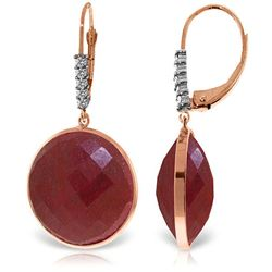 Genuine 46.15 ctw Ruby & Diamond Earrings Jewelry 14KT Rose Gold - GG#5294 - REF#78M3T