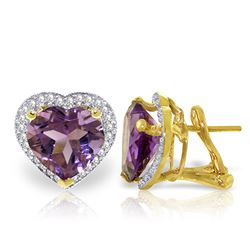 Genuine 6.48 ctw Amethyst & Diamond Earrings Jewelry 14KT Yellow Gold - GG#4977 - REF#101F4Z