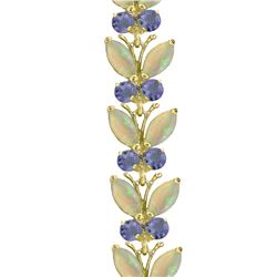 Genuine 10.5 ctw Opal & Tanzanite Bracelet Jewelry 14KT White Gold - GG#2632 - REF#211V3W