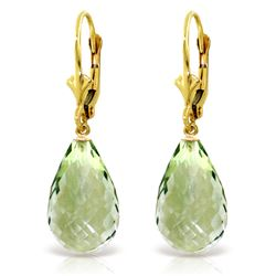 Genuine 14 ctw Green Amethyst Earrings Jewelry 14KT Yellow Gold - GG#2561 - REF#28K3V