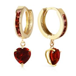 Genuine 4.1 ctw Garnet Earrings Jewelry 14KT Yellow Gold - GG#1809 - REF#52F2Z