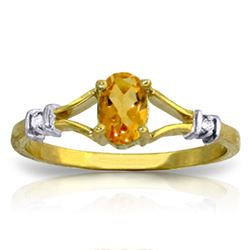 Genuine 0.46 ctw Citrine & Diamond Ring Jewelry 14KT Yellow Gold - GG#1211 - REF#27N2R