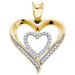 0.1 CTW Diamond Pendant Yellow Rhodium Silver - GD84239-REF#11M3F