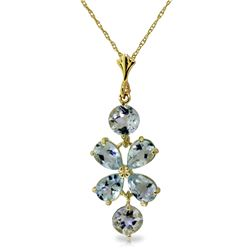 Genuine 3.15 ctw Aquamarine Necklace Jewelry 14KT Yellow Gold - GG#1593 - REF#39R3P