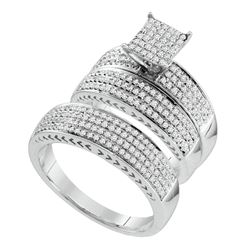 1 CTW Diamond Trio Set Ring 10KT White Gold - GD67119-REF#107Y9Z