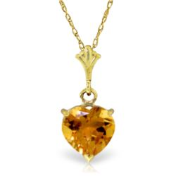 Genuine 1.15 ctw Citrine Necklace Jewelry 14KT Yellow Gold - GG#1806 - REF#19K4V
