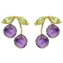 Genuine 2.9 ctw Amethyst & Peridot Earrings Jewelry 14KT Yellow Gold - GG#3991 - REF#18P3H
