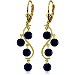 Genuine 4 ctw Sapphire Earrings Jewelry 14KT Yellow Gold - GG#2093 - REF#63Z8N