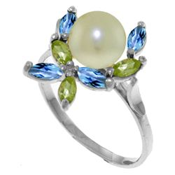 Genuine 2.63 ctw Blue Topaz & Peridot Ring Jewelry 14KT White Gold - GG#3494 - REF#28R5P