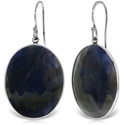 Genuine 40 ctw Sapphire Earrings Jewelry 14KT White Gold - GG#5260 - REF#103T8A