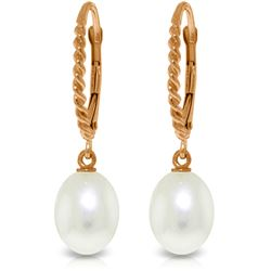 Genuine 8 ctw Pearl Earrings Jewelry 14KT Rose Gold - GG#3087 - REF#22T5A