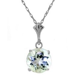 Genuine 1.15 ctw Aquamarine Necklace Jewelry 14KT White Gold - GG#2015 - REF#22N8R